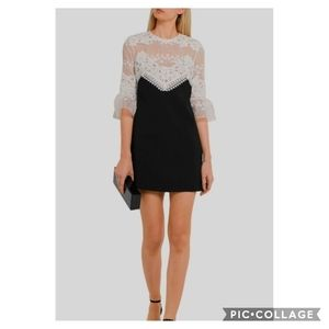 SELF-PORTRAIT Floral Embroidered Lace Dress 0